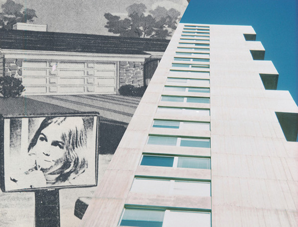 Dan Graham, Video Projection Outside Home, 1978 (detail), and Ziggurat Building, 1965 (detail)