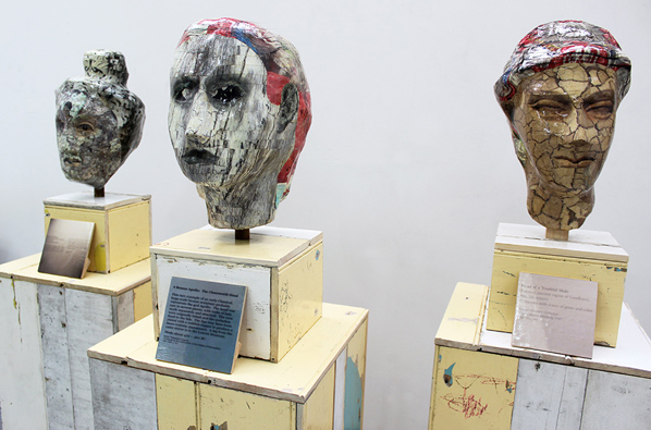 MASLEN & MEHRA, Photo-sculptures: wire, paper-mache, plaster and archival photographic print, plinths: recycled wood