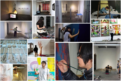 Some of the artists and their works during the residency in 2013