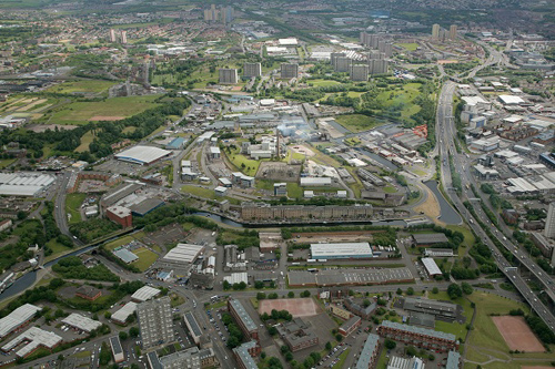 Aerial view of the North of Glasgow and the Forth and Clyde Canal