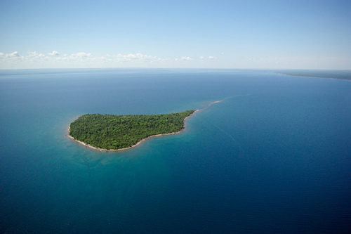 Rabbit Island aerial wide