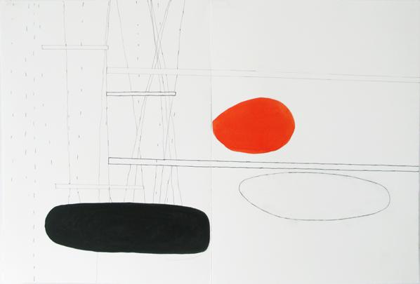 Jürgen Partenheimer, The Raven Diaries #28 (adumbration), ink, pencil, watercolour on paper. Courtesy Häusler Contemporary Munich/Zürich