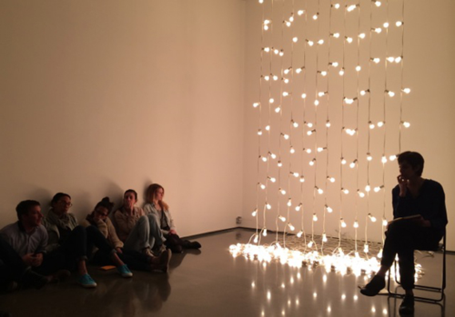 "Students gathered in front of Felix Gonzalez-Torres, ""Untitled"" (North), 1993. Part of Turn on the Bright Lights, a thesis exhibition curated by Carla Acevedo-Yates, CCS Bard '14"
