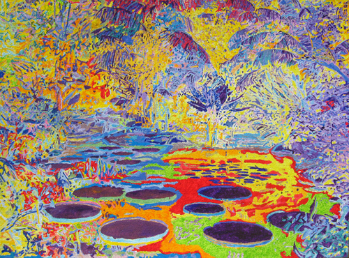 Tjasa Iris, JOY OF NATURE, acrylic on jute, 90   x 120 cm, 2012
