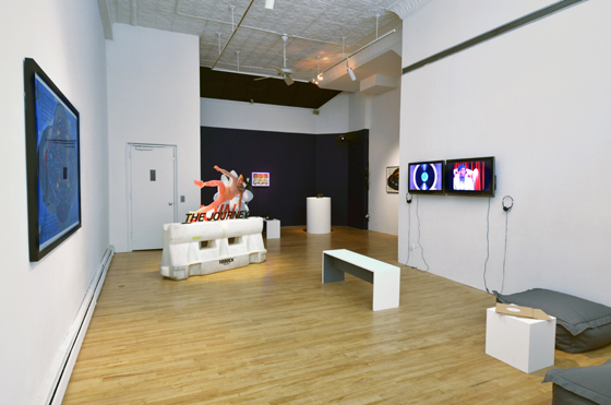 Installation view, Fellow Travelers, organized by Katherine Rochester and on view through October 21 at apexart
