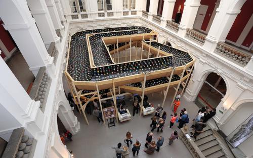 Lucas Abela, Vinyl Rally, 2013. Installation at the National Museum in Wrocław, WRO 2013 Pioneering Values Biennale. Photo: M. E. Koch.
