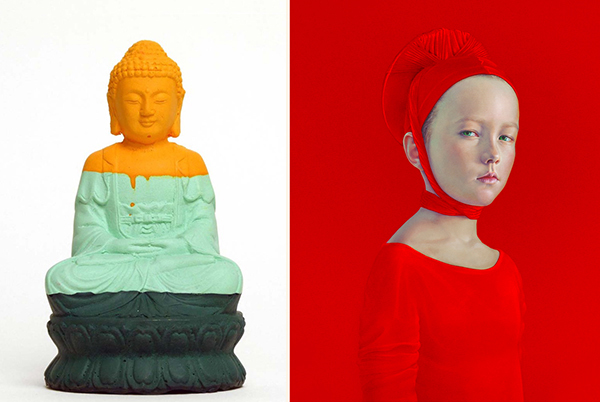 left: Olivier Morel, BOUDDHA3_0008, courtesy Red Zone Arts; right: Salustiano, Plusquamperfecto, courtesy Galerie am Dom